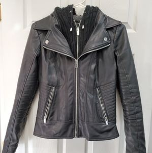 Faux leather jacket with removable hood